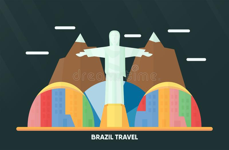 Таиланд, Udonthani - 7-ое августа 2018: Ориентир ориентир Бразилии с Рио d бесплатная иллюстрация