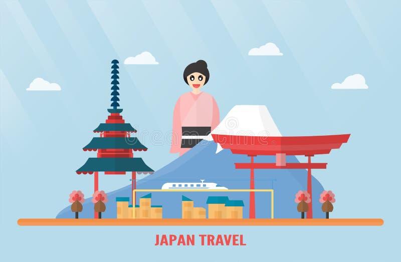 Таиланд, Udonthani - 7-ое августа 2018: Ориентир ориентиры Японии с держателем иллюстрация штока