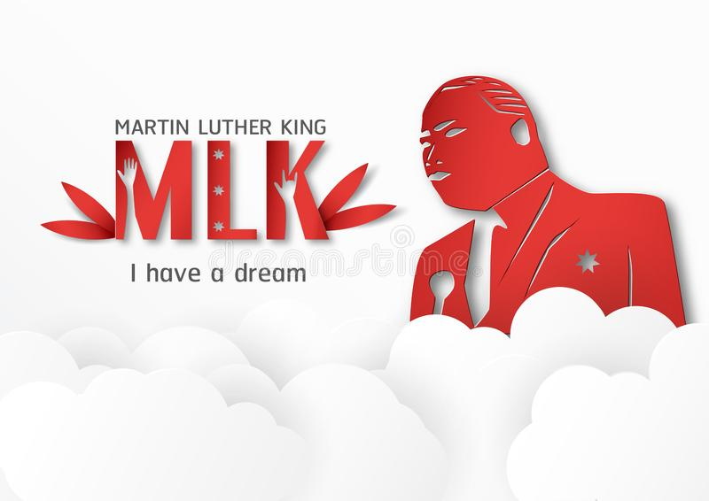 Таиланд, Udonthani - 16-ое января 2019: Счастливый младший Мартина Лютера Кинга День с бумажным стилем отрезка и ремесла Иллюстра иллюстрация штока