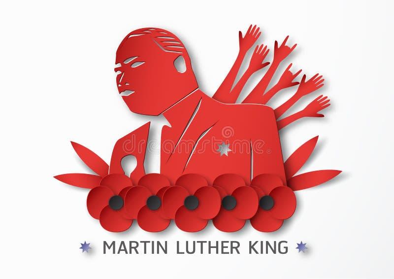 Таиланд, Udonthani - 16-ое января 2019: Счастливый младший Мартина Лютера Кинга День с бумажным стилем отрезка и ремесла Иллюстра иллюстрация вектора