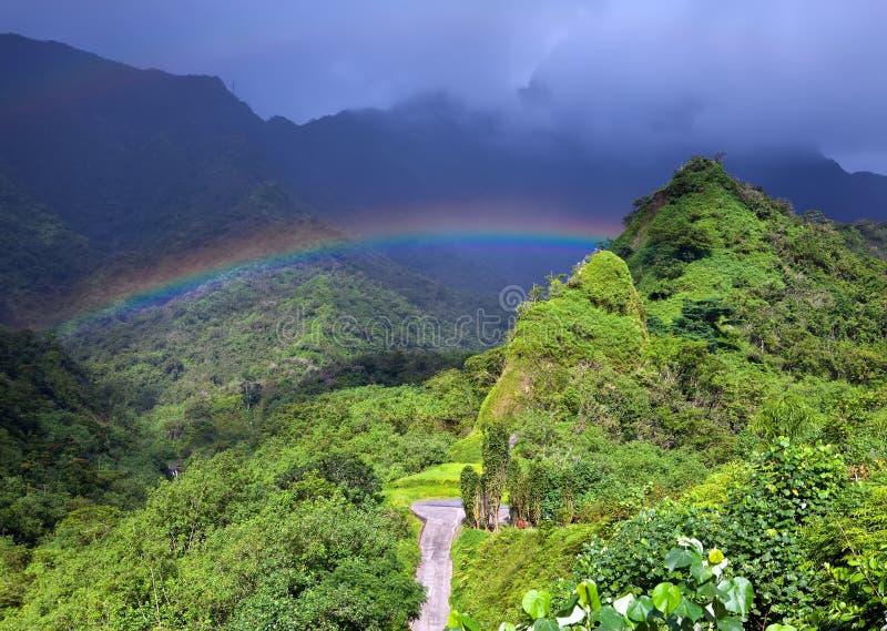 Таити Гора и радуга стоковое фото