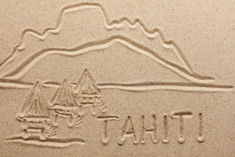 Таити рукописный от песка стоковая фотография