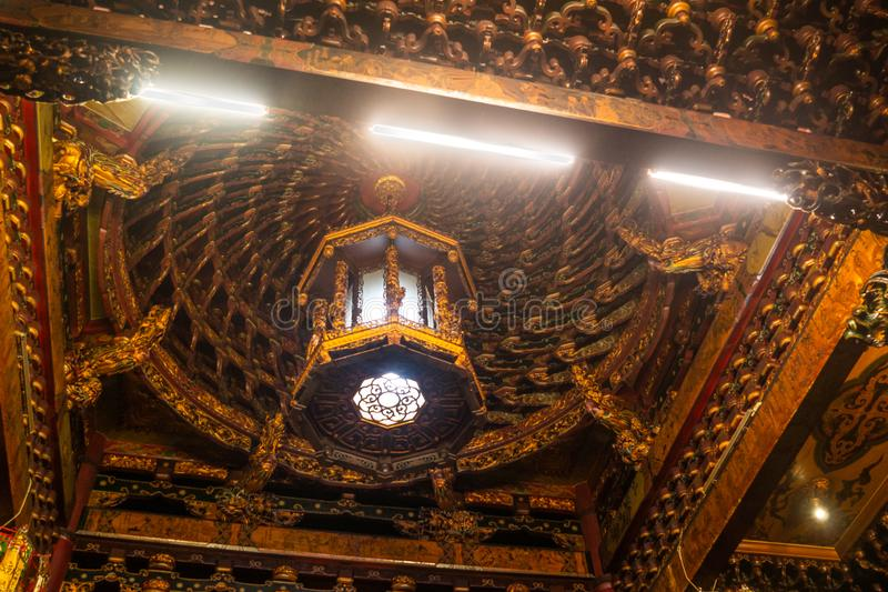 Тайбэй/Taiwan-25 03 2018: Света в виске Baoan в Тайбэе стоковое фото