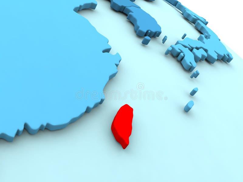 Тайвань в красном цвете на голубом глобусе иллюстрация вектора