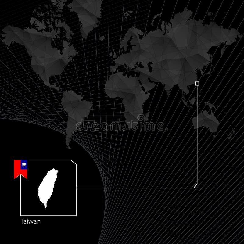 Тайвань на черной карте мира Карта и флаг Тайваня иллюстрация вектора