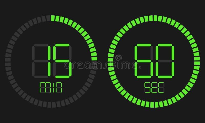 Таймер комплекса предпусковых операций секундомера цифровой с дисплеем вектора минут и секунд Цифровой таймер, электронный секунд иллюстрация вектора