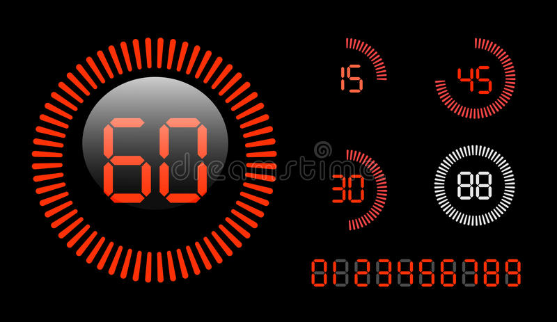 Таймер комплекса предпусковых операций цифров иллюстрация вектора