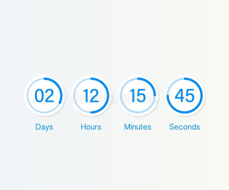 Таймер счетчика часов комплекса предпусковых операций Отсчет UI app цифровой вниз объезжает метр доски с диаграммой пирога времен иллюстрация штока