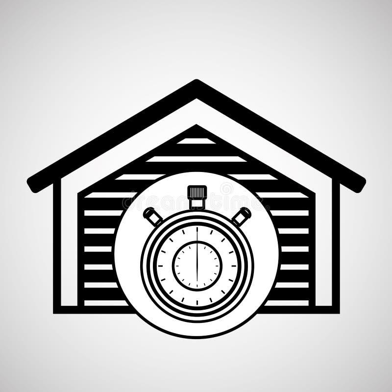 Таймер часов обслуживания складского здания иллюстрация вектора