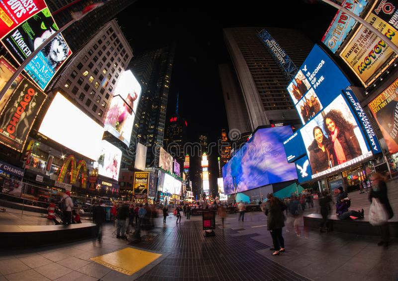 Таймс-сквер вечером, NYC стоковые изображения