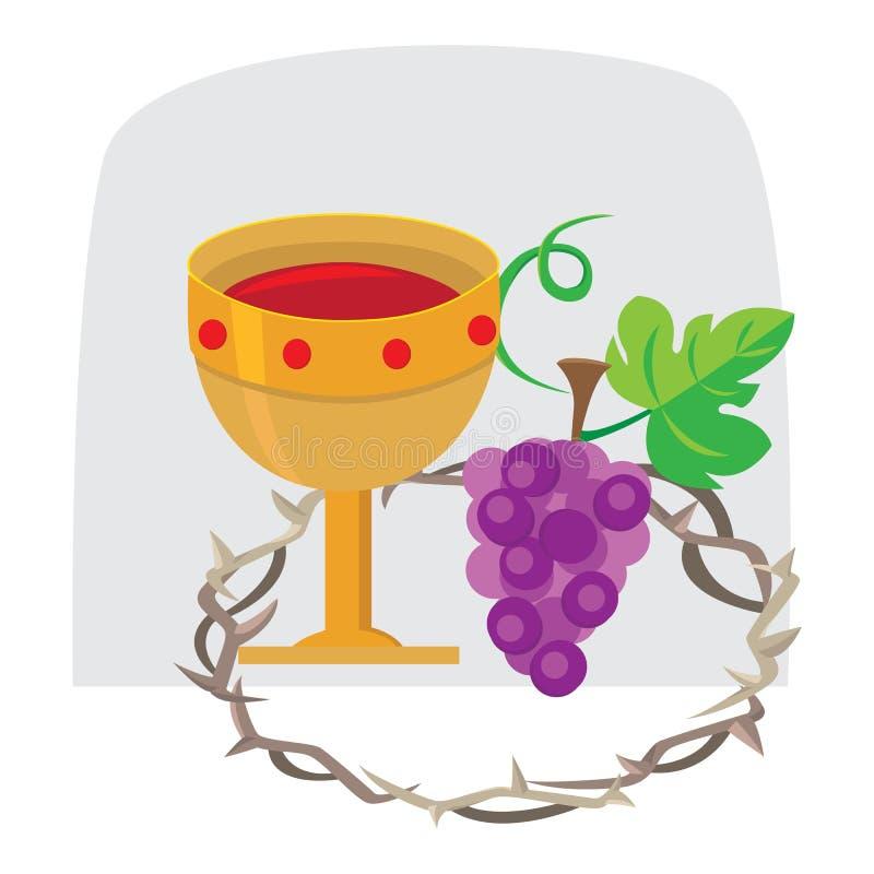 Тайная вечеря святой недели Иисуса Христоса, Maundy четверга, установила таинство святого причастия до его ареста иллюстрация штока