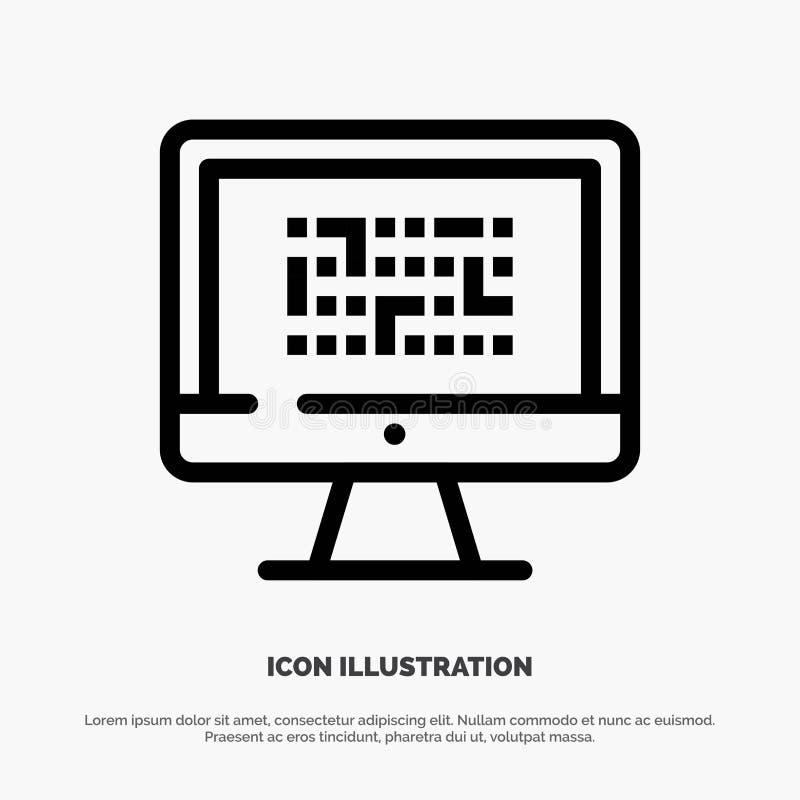 Тайнопись, данные, Ddos, шифрование, информация, линия вектор проблемы значка иллюстрация штока