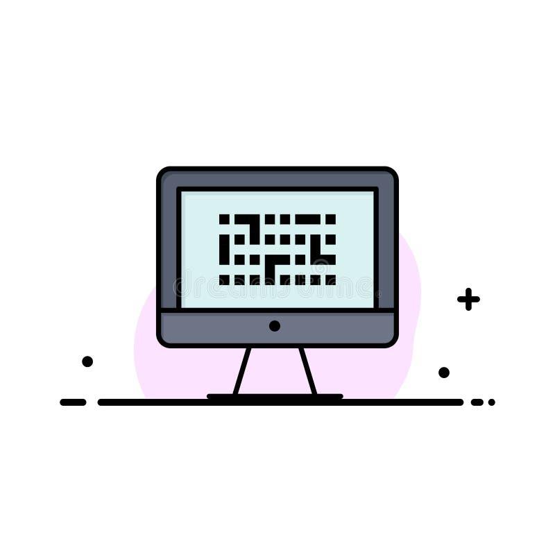 Тайнопись, данные, Ddos, шифрование, информация, линия дела проблемы плоская заполнила шаблон знамени вектора значка иллюстрация штока