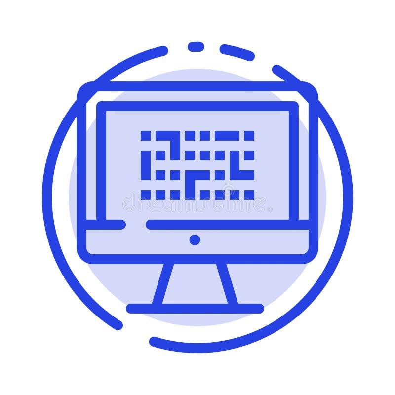 Тайнопись, данные, Ddos, шифрование, информация, линия значок голубой пунктирной линии проблемы иллюстрация штока
