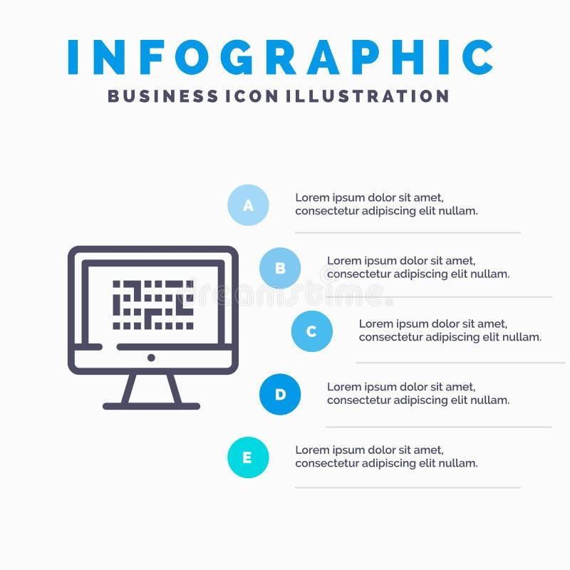 Тайнопись, данные, Ddos, шифрование, информация, линия значок проблемы с предпосылкой infographics представления 5 шагов иллюстрация вектора