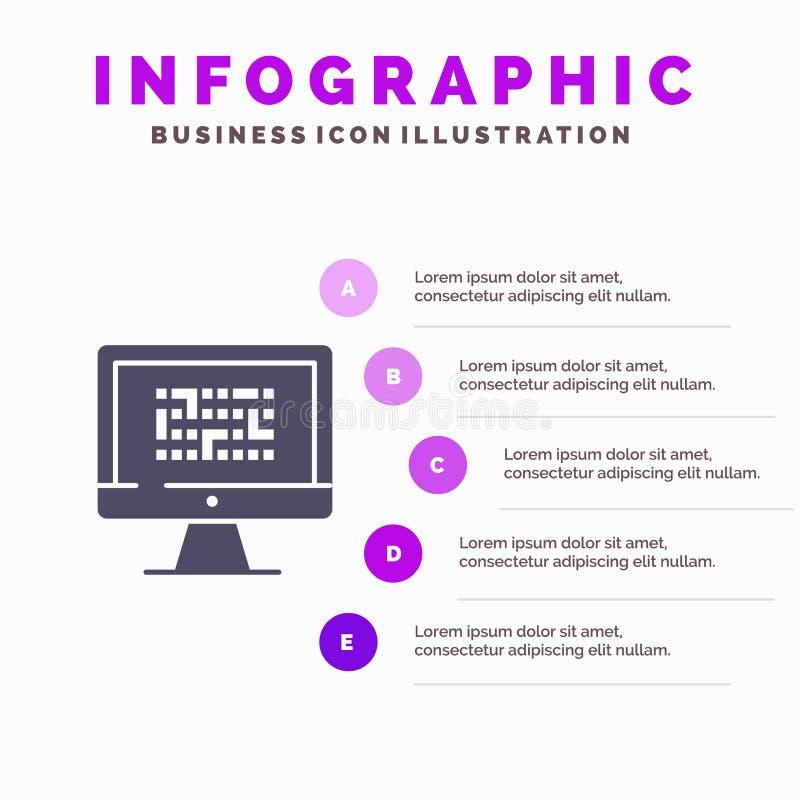 Тайнопись, данные, Ddos, шифрование, информация, предпосылка представления шагов Infographics 5 значка проблемы твердая бесплатная иллюстрация