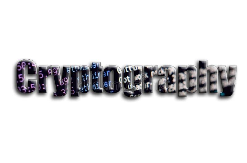 тайнопись Надпись имеет текстуру фотографии, которая показывает экран программного обеспечения cryptocurrency минируя стоковое фото rf