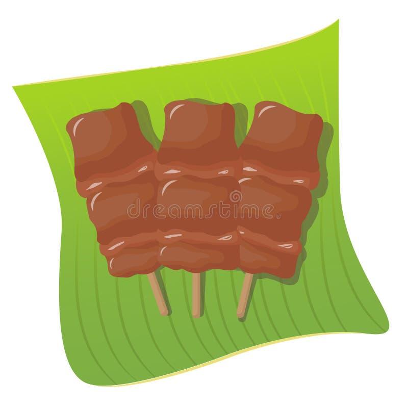 Тайская еда, зажаренный свинина на лист банана стоковая фотография rf