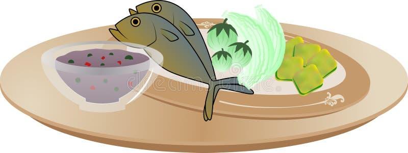 Тайская еда - соус чилей затира креветки бесплатная иллюстрация
