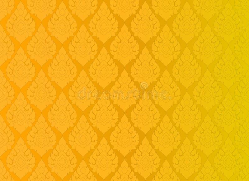 Тайская золотая винтажная предпосылка конспекта вектора картины иллюстрация штока