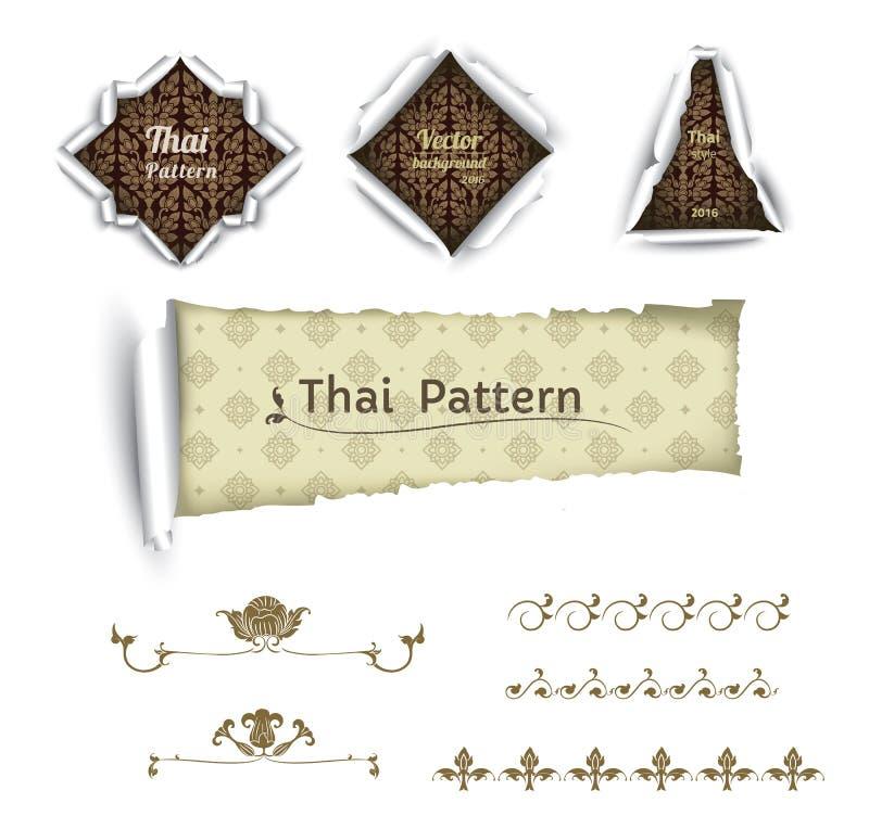 Тайская картина искусства на белых предпосылке, стиле стикера, тайском знамени картины, для веб-дизайна и печатания, вектор иллюстрация штока