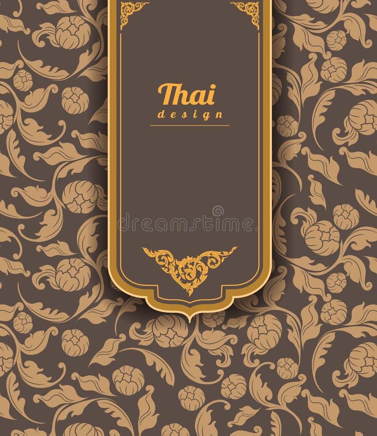 Тайская картина искусства на коричневой предпосылке, стиле цветка, тайской картине иллюстрация вектора
