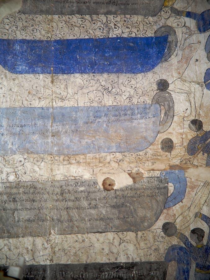 ТАЙСКАЯ картина фрески настенной росписи рассказа мифа ESARN известная уникально стоковые фотографии rf