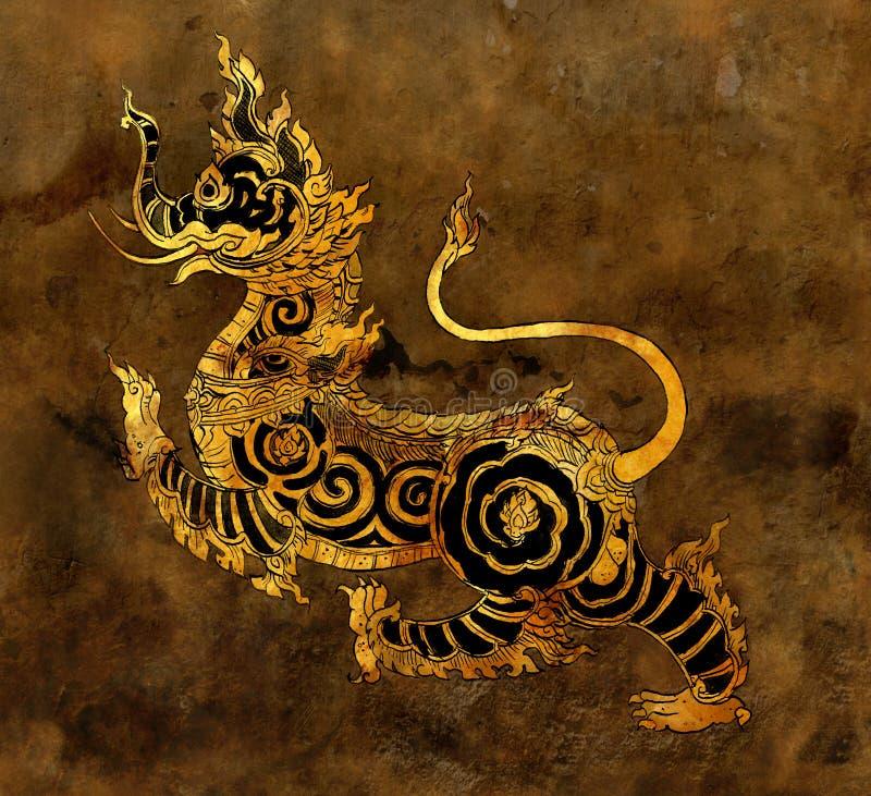Тайская картина Sigha льва мифологии на стене иллюстрация штока