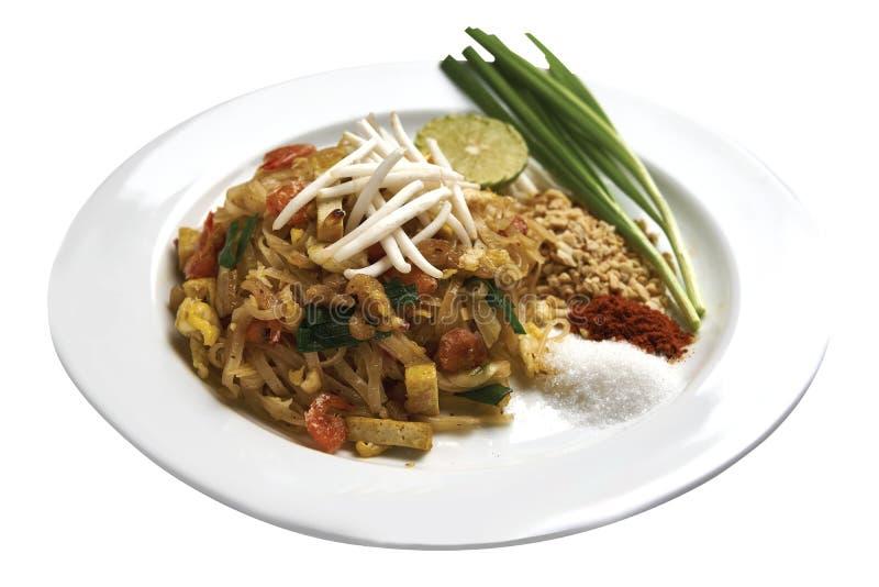 Тайская кухня - зажаренный стиль лапши тайский с креветками стоковое изображение