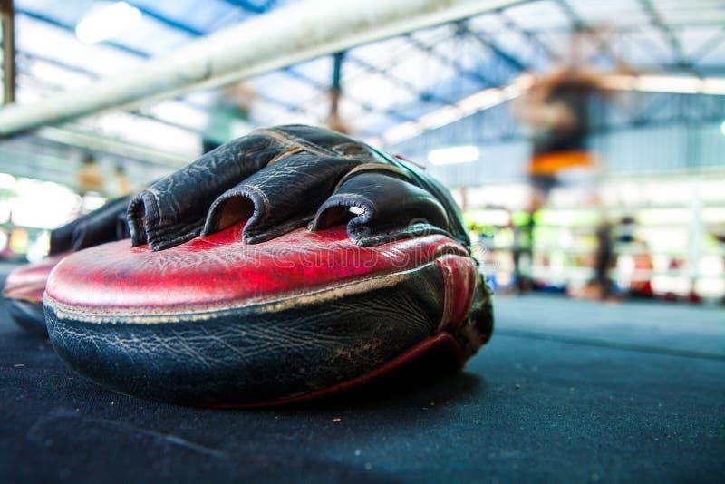 Тайская перчатка пусковой площадки пунша фокуса цели тренировки перчатки бокса на холсте стоковое изображение