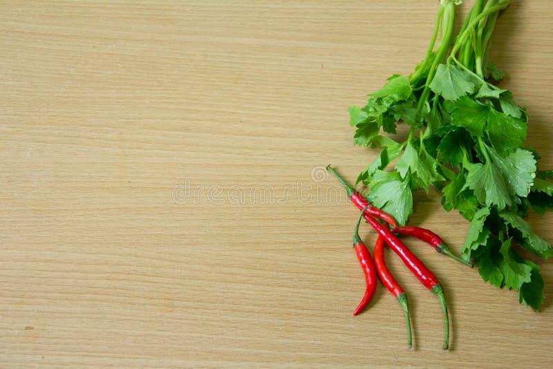 Тайская предпосылка древесины сельдерея и chili стоковое фото rf