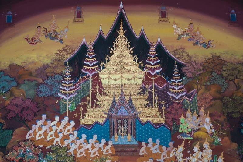 Тайская стенная роспись на стене, Wat Pho, Бангкок, Таиланд стоковые фотографии rf