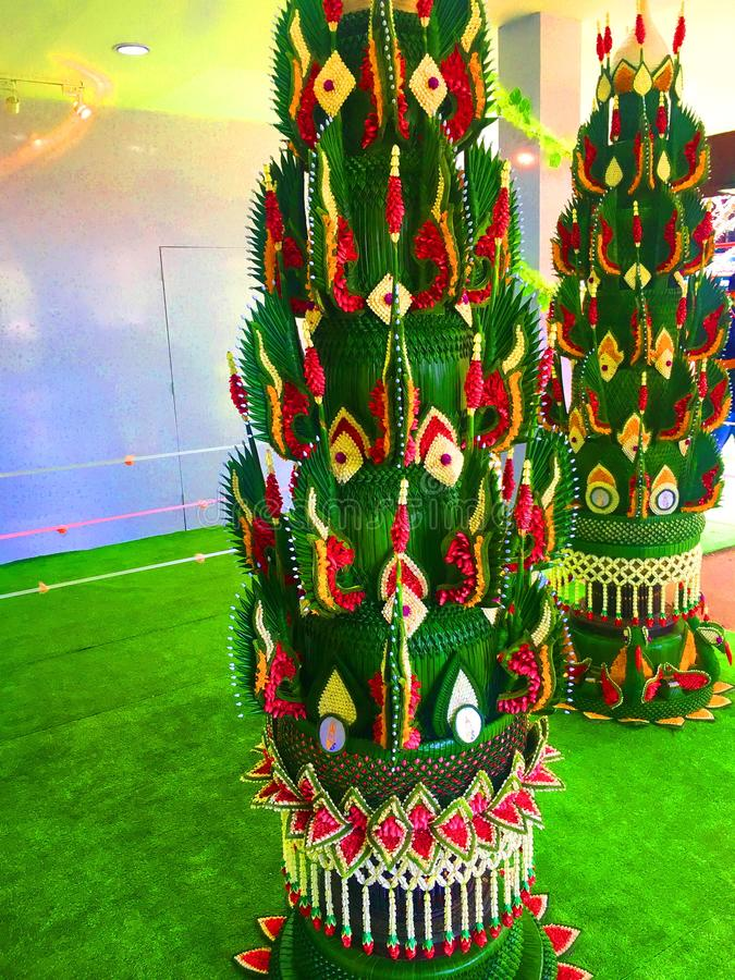 Тайская церемония благословением в северной тайской церемонии стоковые фото
