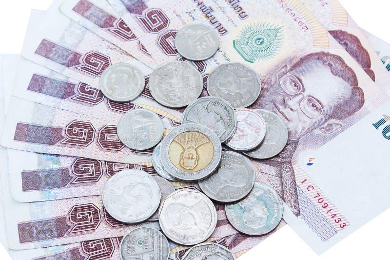 Тайские деньги и монетка стоковое изображение rf
