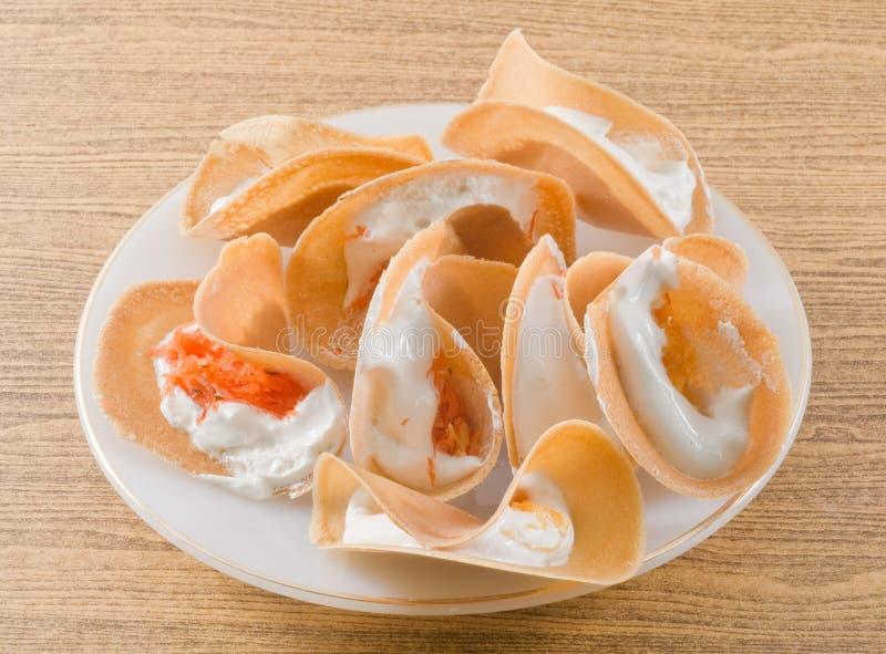 Тайские кудрявые Crepes или тайский кудрявый блинчик стоковое фото