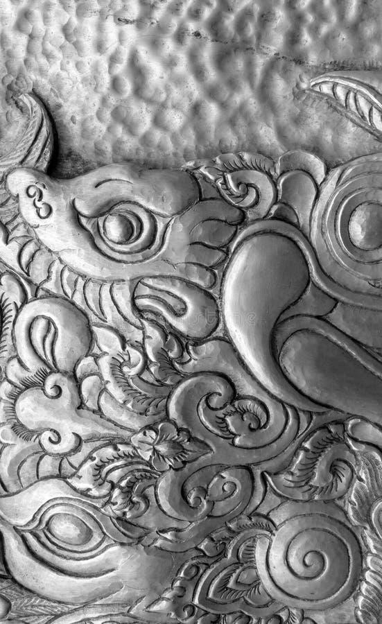 Тайские традиционные серебряные детали работы стоковое фото