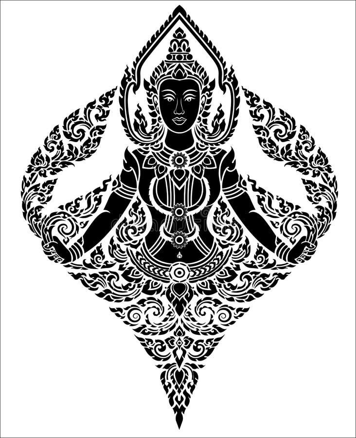 Тайский ангел женщины искусства иллюстрация вектора
