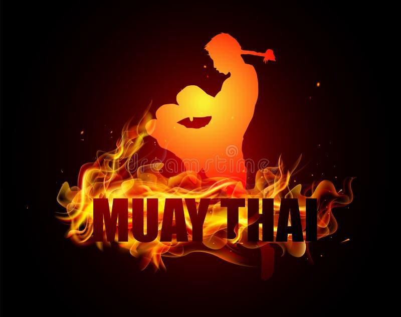 Тайский бокс пинком в ударе с боксом позиции колена тайским иллюстрация штока