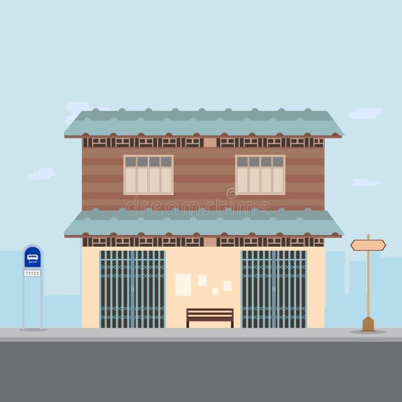 Тайский дизайн дома на главной улице с вектором предпосылки автобусной остановки и города иллюстрация вектора