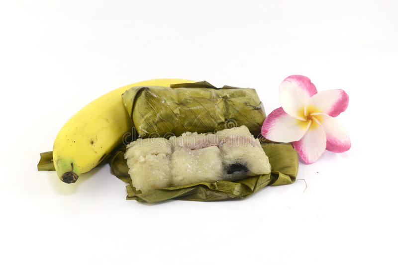 Тайский десерт сделанный от банана и glutinous риса стоковое фото rf