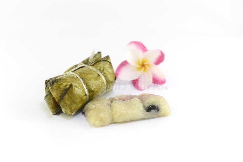 Тайский десерт сделанный от банана и glutinous риса стоковые изображения