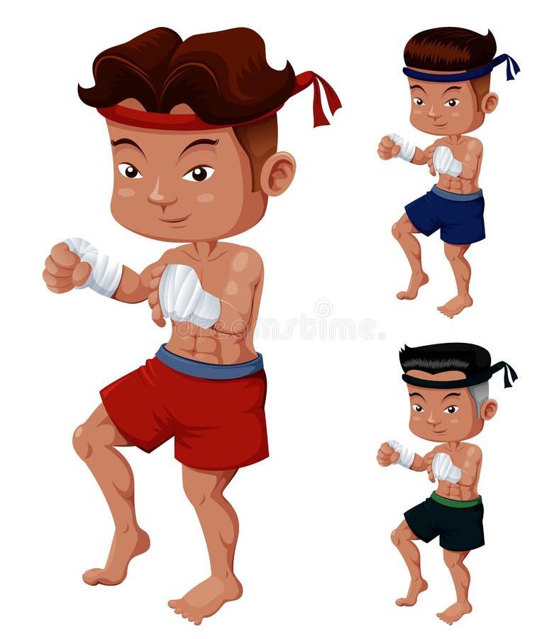 Тайский комплект бокса иллюстрация вектора