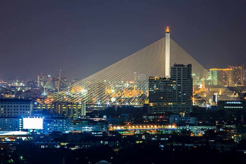 Тайский мега мост слинга в Бангкоке стоковое фото rf