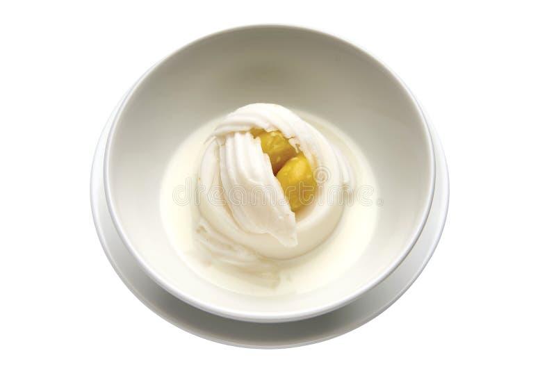 Тайский пудинг кокоса десерта с куском кокоса стоковая фотография