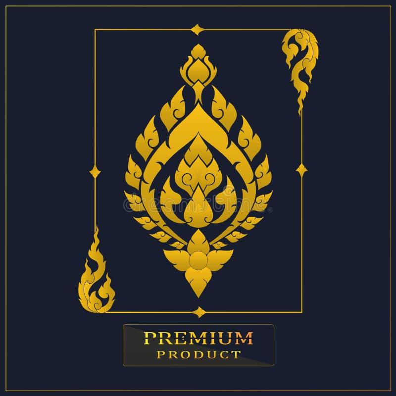 Тайский роскошный винтажный золотой дизайн картины для логотипа, ярлыка, значка, бренда для вашего продукта или упаковки иллюстрация штока