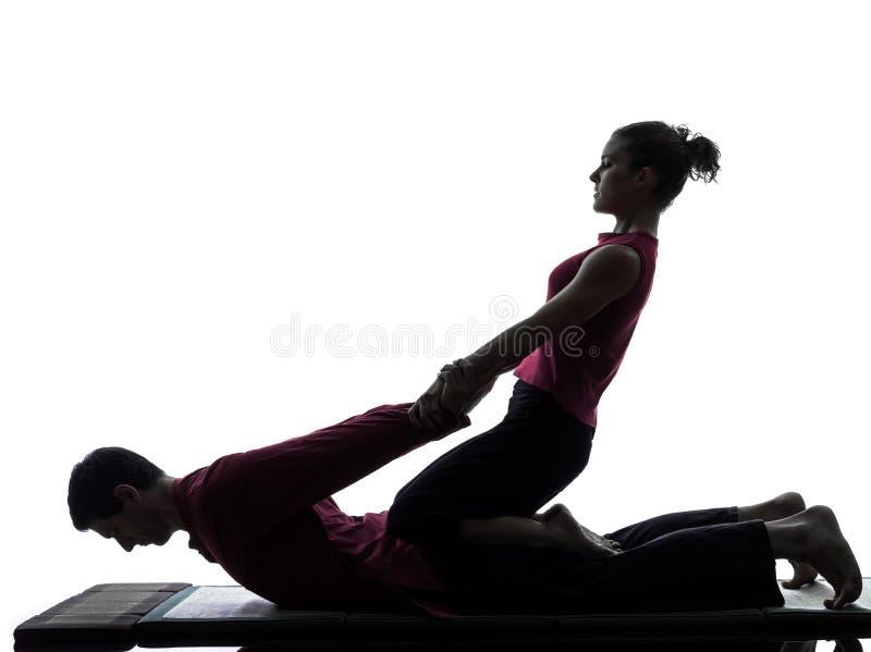 Тайский силуэт массажа стоковое фото rf