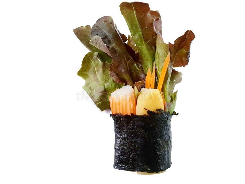 Тайский стиль еды, взгляд сверху свернул hydroponic vegetable салат стоковое фото rf