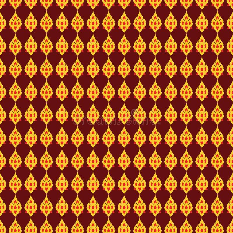 Тайский стиль картины или тайские шаблон определения или линия золото и красные цвета стоковые фото