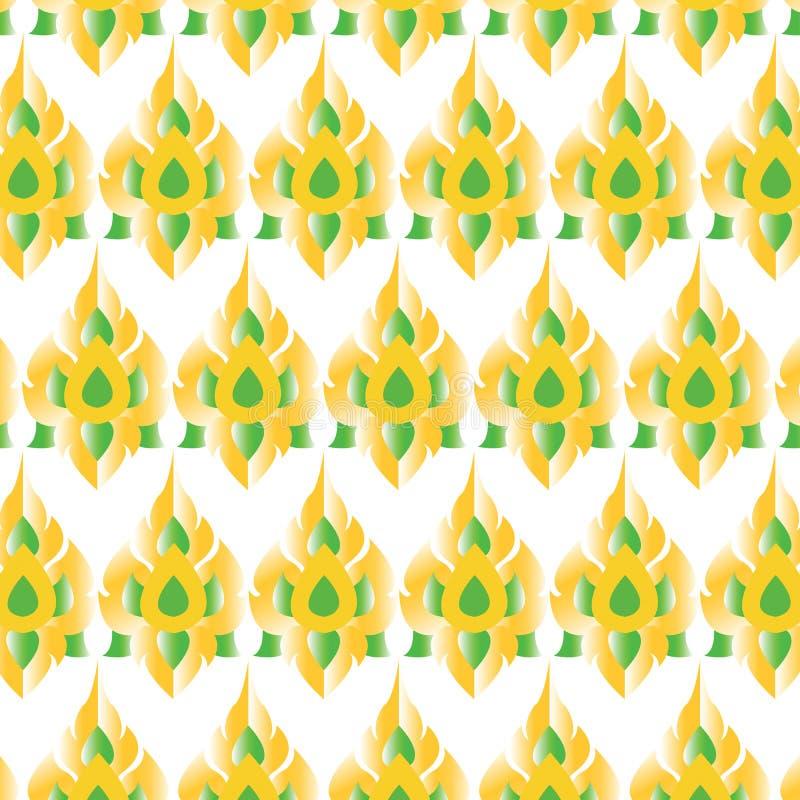 Тайский стиль традиции картины или тайские цвета золота шаблона определения и зеленых на белой предпосылке иллюстрация штока