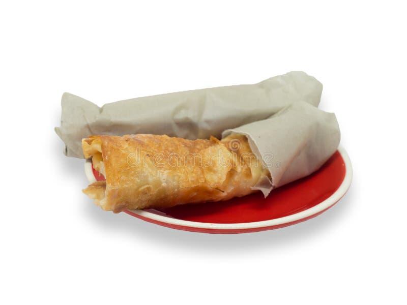 Тайский стиль Roti на красном блюде обычно служил как завтрак или закуска стоковые фотографии rf